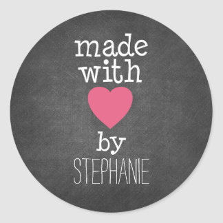 Made With Love By You - hot pink and chalkboard Round Sticker