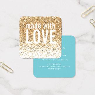 MADE WITH LOVE cute confetti gold glitter blue Square Business Card