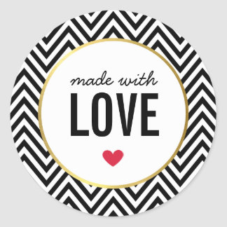 MADE WITH LOVE cute packaging chevron black white Classic Round Sticker