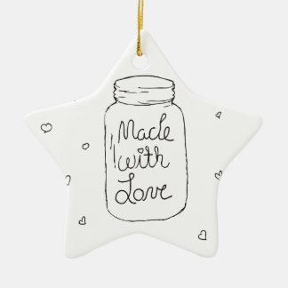 Made with Love Doodle Ceramic Star Decoration