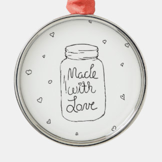 Made with Love Doodle Silver-Colored Round Decoration
