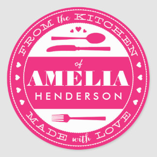 Made With Love Food Gift Sticker pink