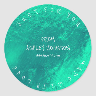 Made With Love For You Name Blue Emerald Green Round Sticker