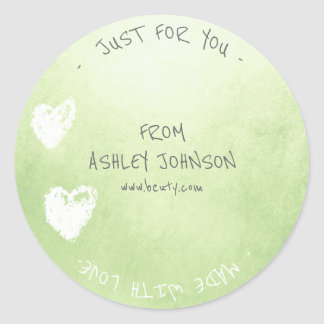 Made With Love For You Name Heart Mint Green White Round Sticker
