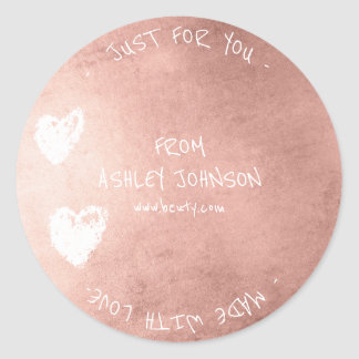 Made With Love For You Name Heart Pink Rose Gold Round Sticker