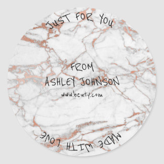 Made With Love For You Name Marble Pink Gold Black Round Sticker