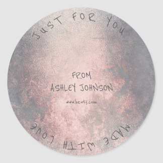 Made With Love For You Name Pink Rose Grungy Gray Round Sticker