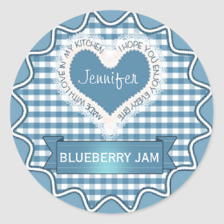 Made With Love Gingham Blue Classic Round Sticker