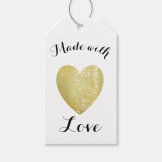 Made with Love Heart Stamp Faux Gold Foil