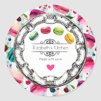 Made With Love Macarons Pastry Kitchen Baking Classic Round Sticker