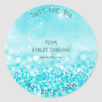 Made With Love Ocean Blue Glitter Sparkly Classic Round Sticker