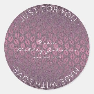 Made With Love Purple Noir Kraft Pastel Kiss Round Sticker