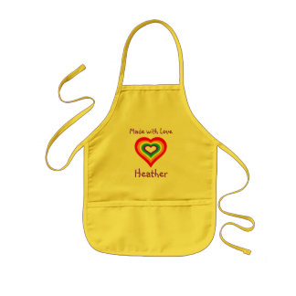 Made with Love Rainbow Heart Personalised Kids Apron