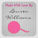 Made With Love Round Pink Ball of Yarn Grey Knit