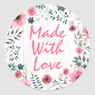 Made With Love Rustic Shabby Chic Roses Anemone Classic Round Sticker