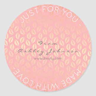 Made With Love Salmon Pink Rose Gold Pastel Kiss Classic Round Sticker