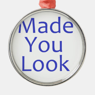 Made you look-blue Silver-Colored round decoration