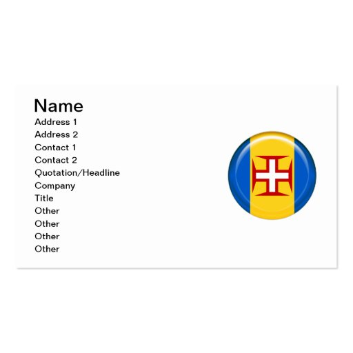 Madeira islands flag business card templates