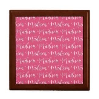 Madison - Modern Calligraphy Name Design Large Square Gift Box