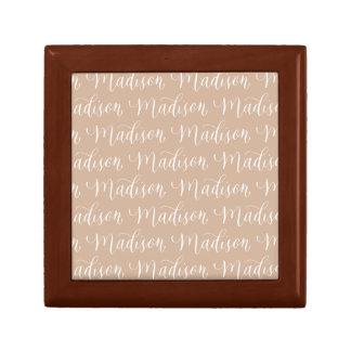 Madison - Modern Calligraphy Name Design Small Square Gift Box