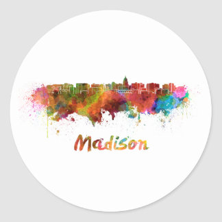 Madison skyline in watercolor classic round sticker