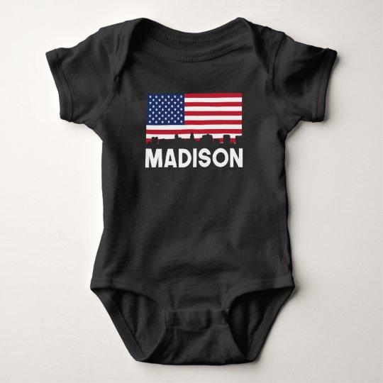 Madison WI American Flag Skyline Baby Bodysuit