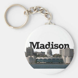 Madison Wisconsin Skyline with Madison in the Sky Basic Round Button Key Ring