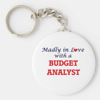 Madly in love with a Budget Analyst Basic Round Button Key Ring