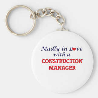 Madly in love with a Construction Manager Basic Round Button Key Ring