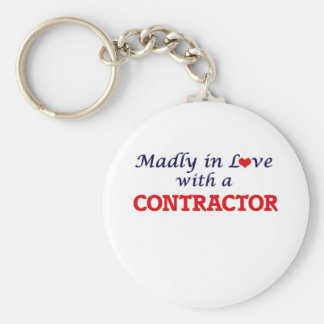 Madly in love with a Contractor Basic Round Button Key Ring