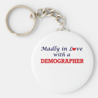 Madly in love with a Demographer Basic Round Button Key Ring