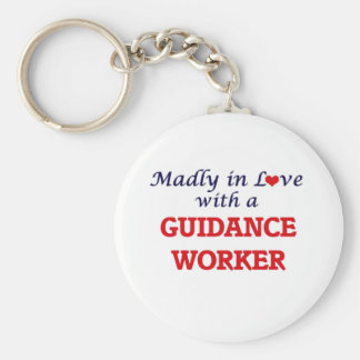 Madly in love with a Guidance Worker Basic Round Button Key Ring