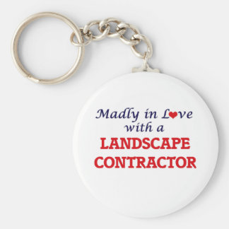 Madly in love with a Landscape Contractor Basic Round Button Key Ring