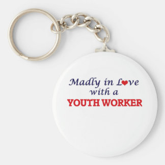 Madly in love with a Youth Worker Basic Round Button Key Ring