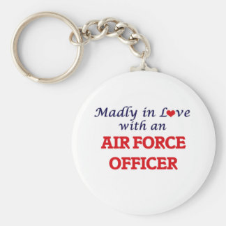 Madly in love with an Air Force Officer Basic Round Button Key Ring