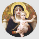 Madona with lilies Bouguereau antique painting Round Stickers