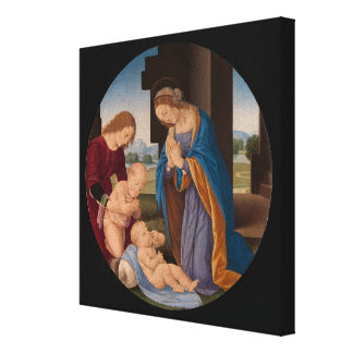 Madonna Adoring the Child with the Infant Saint Canvas Print