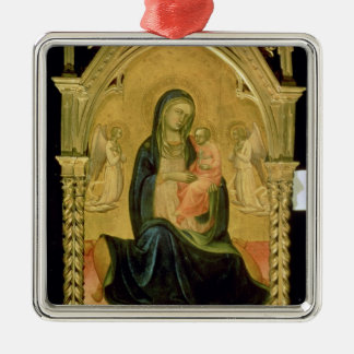 Madonna and Child, 1400 Silver-Colored Square Decoration
