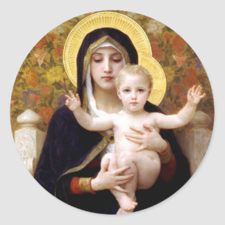 Madonna and Child Classic Round Sticker