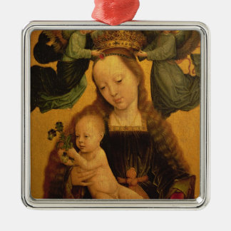 Madonna and Child Crowned by Two Angels, c.1520 Silver-Colored Square Decoration
