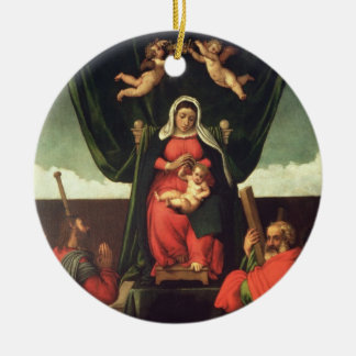 Madonna and Child Enthroned with Four Saints, 1546 Round Ceramic Decoration