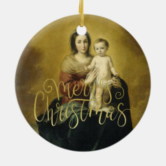 Madonna and Child, Fine Art Christmas Ornament