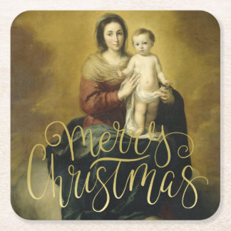 Madonna and Child, Fine Art Christmas Square Paper Coaster