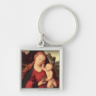 Madonna and Child Silver-Colored Square Key Ring