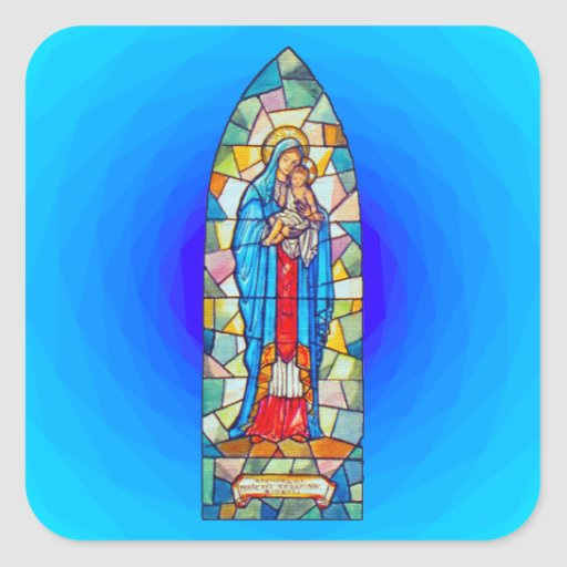 Madonna and Child Nativity Stained Glass Style Stickers