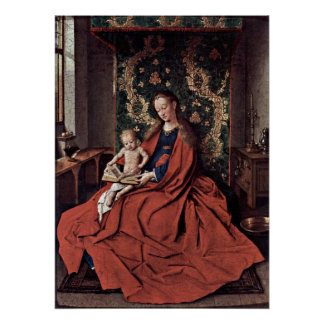 Madonna and child reading by Jan van Eyck Poster