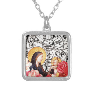 madonna and child silver plated necklace