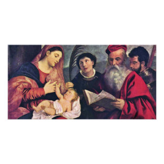 Madonna And Child To St. Stephen St. Jerome Picture Card