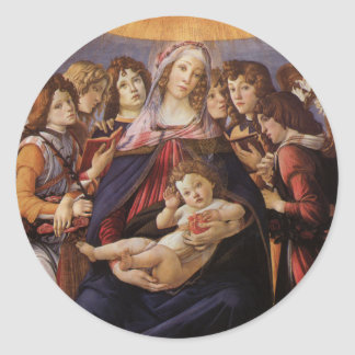 Madonna and Child with Angels by Sandro Botticelli Classic Round Sticker