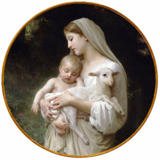 Madonna and Child with Lamb Christmas Ornament Photo Sculpture Decoration